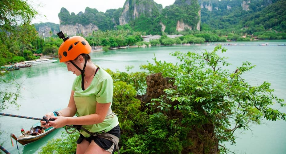 rock climbing rappelling krabi railay beach